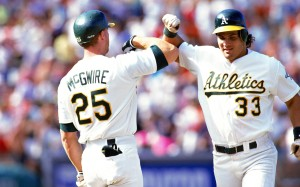 Mark McGwire and Jose Canseco playing for the A's